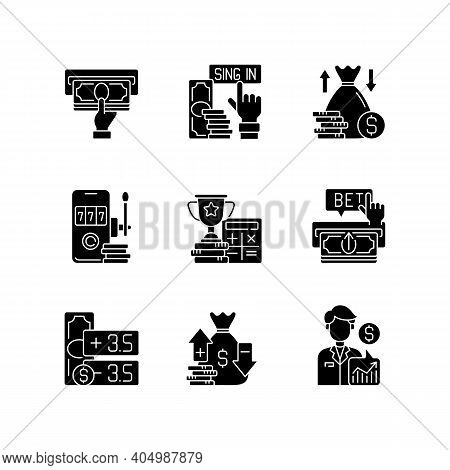 Sporting Bets Black Glyph Icons Set On White Space. Receiving Payment. Sign-up Bonus. Making Money B