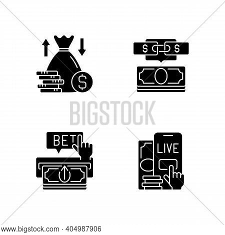 Bookmaking Black Glyph Icons Set On White Space. Over And Under Bet. Parlay. Making Deposit. Live Be