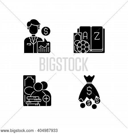 Sportsbook Black Glyph Icons Set On White Space. Expert Prediction. Betting Glossary. Referral Progr