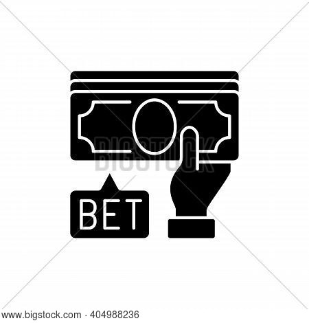 Placing Bet Black Glyph Icon. Gambling Act. Betting Money On Sport Events. Making Wager On Outcome.