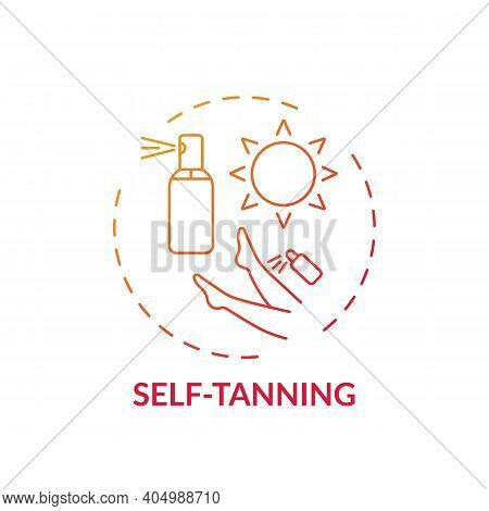 Self-tanning Concept Icon. Home Beauty Treatment Idea Thin Line Illustration. Suntan Effect Without