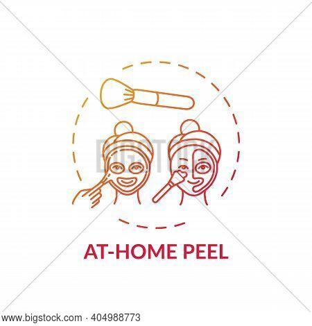 At-home Peel Concept Icon. Home Beauty Treatment Idea Thin Line Illustration. Lightening Dark Spots.