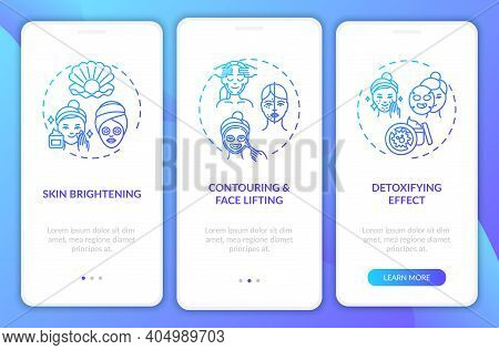 Face Mask Results Onboarding Mobile App Page Screen With Concepts. Skin Brightening, Detoxifying Eff