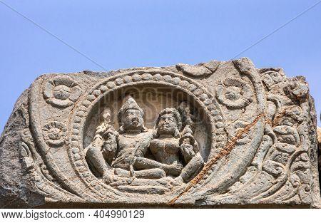 Lakkundi, Karnataka, India - November 6, 2013: Kasivisvesvara Temple. Gray Stone Sculpture Of Shiva