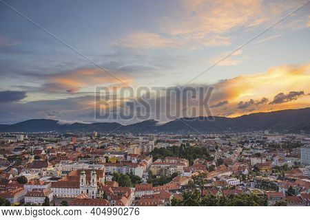 Cityscape Of Graz With Mariahilfer Church And Historic And Modern Buildings Of Graz, Styria Region,