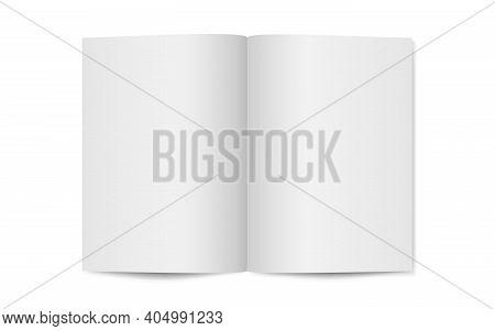 Magazine Mockup On White Backdrop. Opened Magazine Template. Vertical Catalog Or Brochure. Realistic