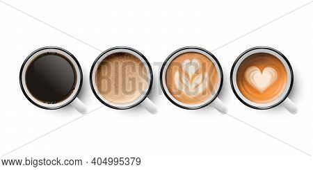 Vector 3d Realistic Enamel Metal White Mug With Black And Foam Milk Coffee Isolated On White Backgro