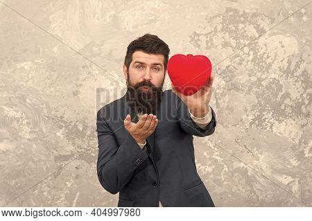 Romantic Boyfriend. Feast Of Saint Valentine. Generous Man. Handsome Man Hold Red Heart. Businessman
