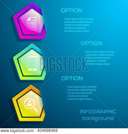 Abstract Digital Business Infographic Design Concept With Icons Three Options And Glossy Colorful He