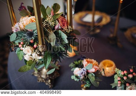 Wedding Table Decoration With Flowers On The Table In The Castle, Table Decor For Dinner By Candleli