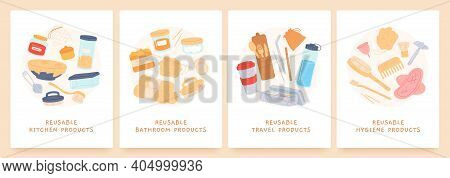 Reusable Products. Zero Waste Durable Items For Kitchen, Bathroom, Hygiene And Travel. Eco Friendly.