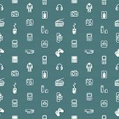 A repeating seamless gadgets and technology background tile texture with lots of different tech and gadget icons poster