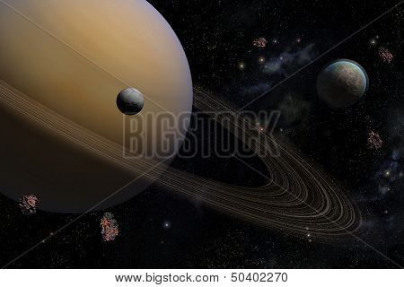 planet Saturn along with its satellites in space