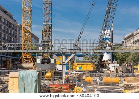 Berlin, Germany - July 24: Construction Site With Workers For The Realisation Of A New Subway In The