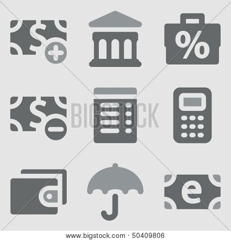 Finance web icons set 2 grayscale icons