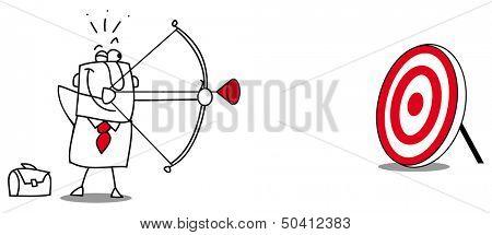 Target. Business man practicing target shooting