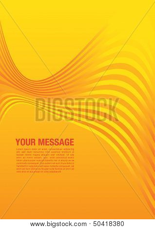 Layout design of smooth lines background in yellow color. Vector illustration poster