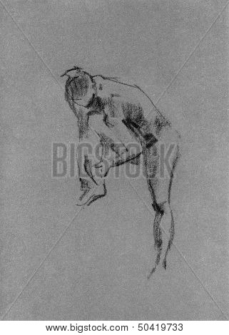 Sketch In Charcoal And Chalk Of Nude Woman Body
