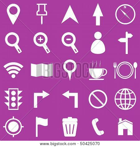 Map Icons On Purple Background