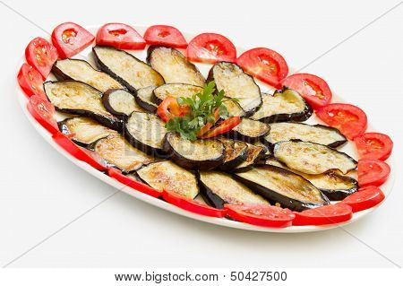 Sliced and fried aubergines