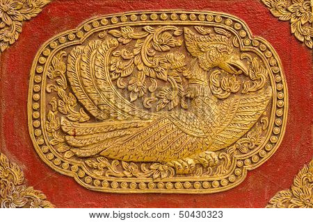 Swan Wall Sculpture On Ubosot In Wat Saen Fang , Chiangmai Thailand