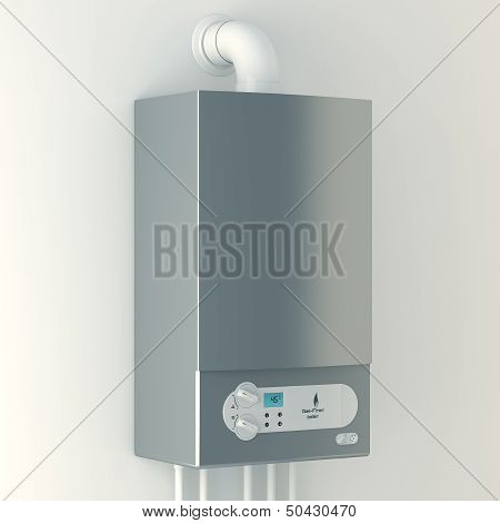 Home gas-fired boiler. The installation of gas equipment. Heating in the house. poster
