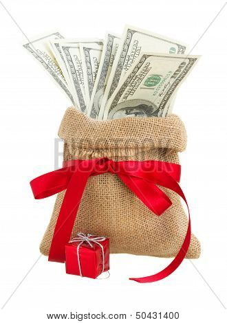money in gift bag