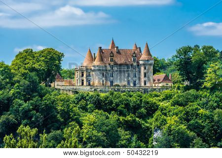 TURSAC, FRANCE - JUNE 23, 2012: exterior of Chateau de Marzac Perigord Tursac on June 23th, 2012 at Dordogne Perigord France. Built in 16th century, it's classified as an historical monument by UNESCO