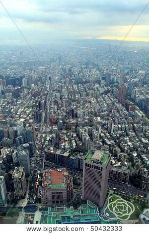 Bird eye view of Taiwan from Taipei101