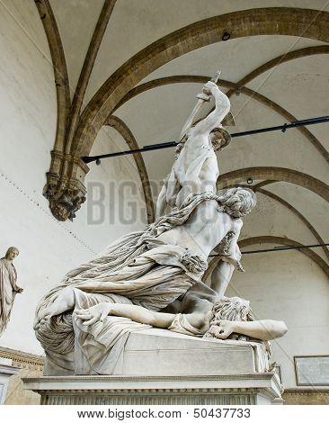 The Rape Of Polyxena Sculpture In Loggia Della Signoria. Florenc