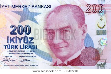 Closeup of 200 TL Turkish banknote as background poster