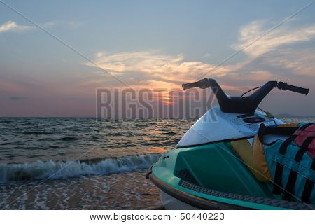 Jetski  On A Beach