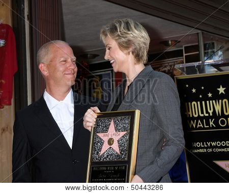 LOS ANGELES - SEP 4:  Ryan Murphy, Jane Lynch at the Jane Lynch Hollywood Walk of Fame Star Ceremony on Hollywood Boulevard on September 4, 2013 in Los Angeles, CA