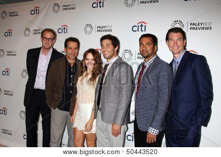 LOS ANGELES - SEP 6:  Rob Greenberg, Tony Shalhoub, Rebecca Breeds, Chris Smith, Kal Pen, Jerry O'Connell at the PaleyFest Previews:at Paley Center for Media on September 6, 2013 in Beverly Hills, CA