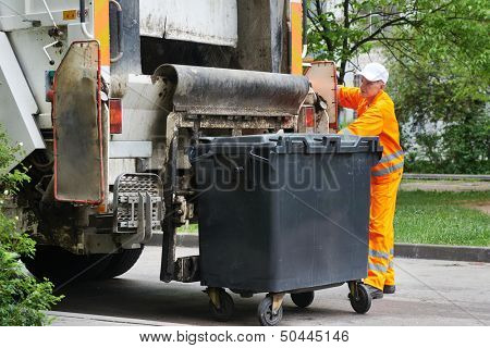 urban municipal recycling garbage collector truck loading waste and trash bin poster