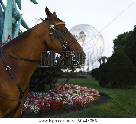 NYPD police horse in the front of 1964 New York World s Fair Unisphere in Flushing Meadows Park