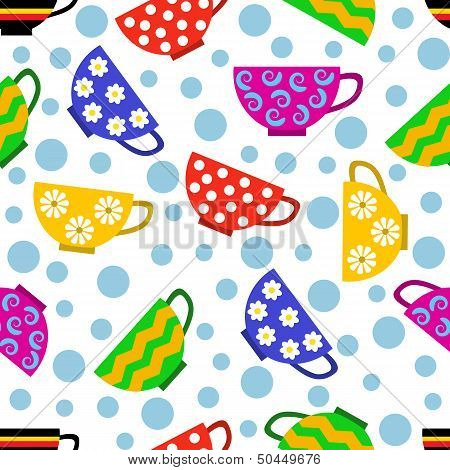 seamless pattern with colorful cups