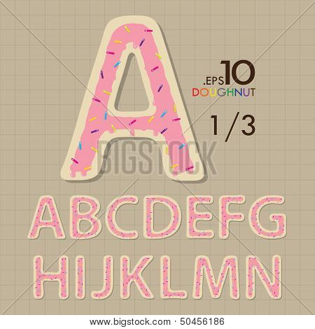 1-3 Set Of Doughnut Vector Alphabet A-n Editable