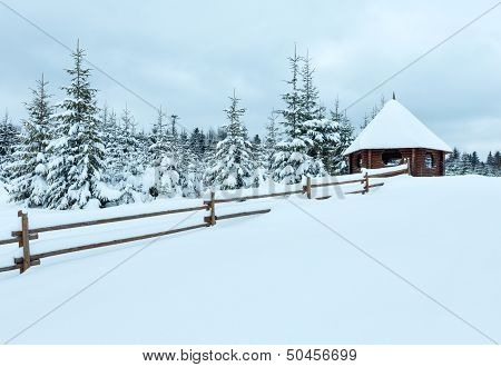 Wooden Summerhouse On Winter Hill Top.
