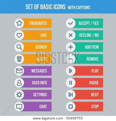 Flat UI design elements - set of basic web icons with captions on colorful background. Vector illustration. poster