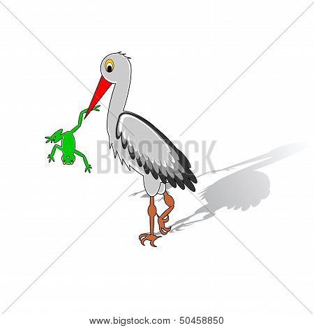 A Cartoon Stork Holding A Frog In His Beak