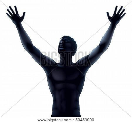 Man Silhouette Hands Raised