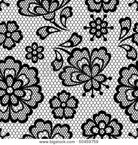 Old lace seamless pattern, ornamental flowers. Vector texture. poster