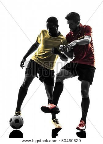 two men soccer player playing football competition in silhouette  on white background