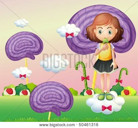 Illustration of a girl standing above a cloud while eating an icecream