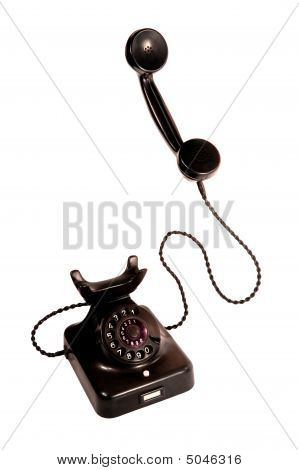 Black Vintage Telephone, Isolation On White