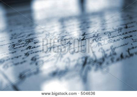 old handwriting under the glass with reflection poster