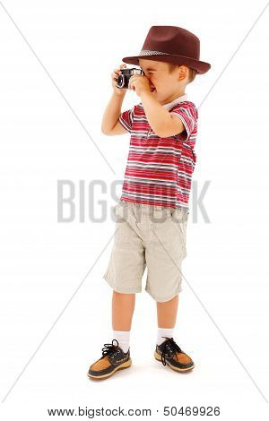 Little Boy In Hat, Taking Photos