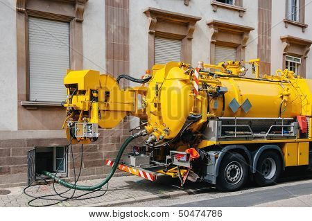 Sewerage Truck On Street Working