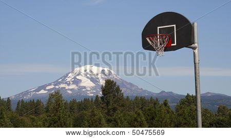 Basketball Hoop Backboard Mountain Background Mt Adams Cascade Range